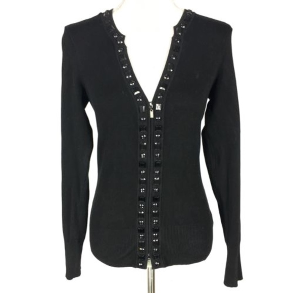 accbfc8569c06 Cache Sweaters - Cache Small Cardigan Black Jeweled Trim Zip V Neck
